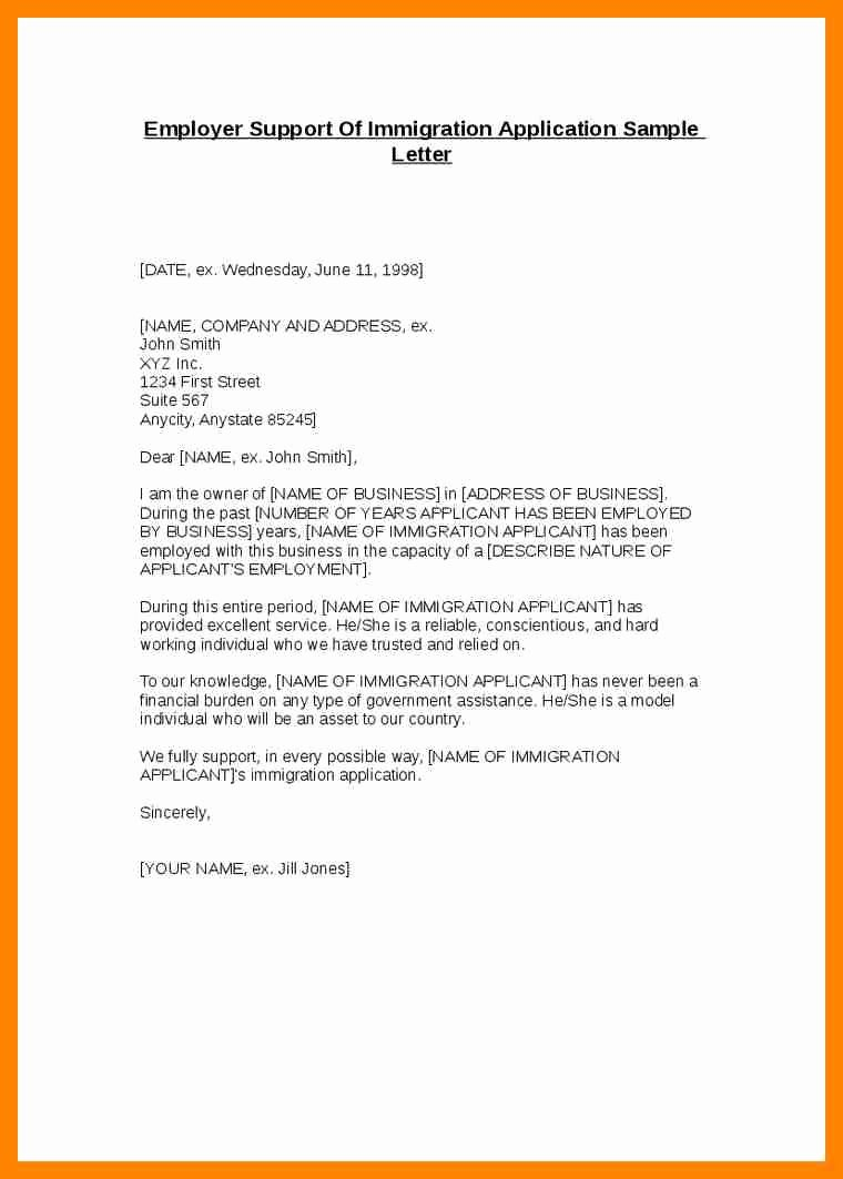 Letters Of Support Templates Awesome Letters Support for Immigration