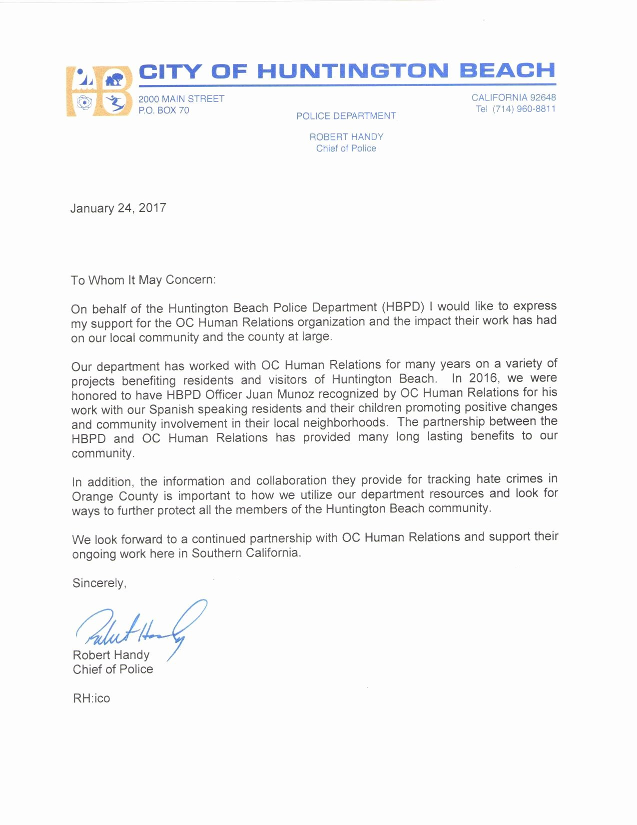 Letters Of Support Templates Fresh Oc Human Relations Support Letter Hbpd
