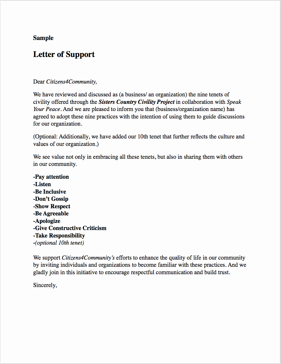 Letters Of Support Templates Fresh Sample Resolutions Letters Pledges — Citizens4 Munity