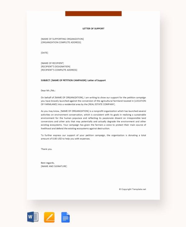 sample letter of support