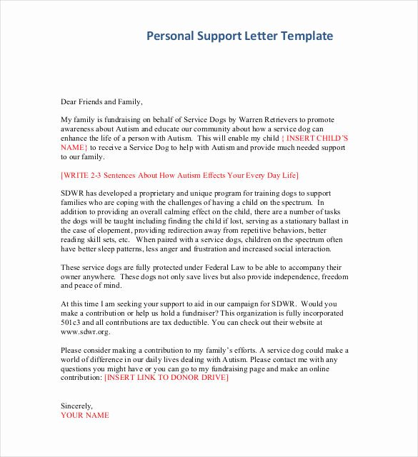 Letters Of Support Templates New 44 Personal Letter Templates Pdf Doc