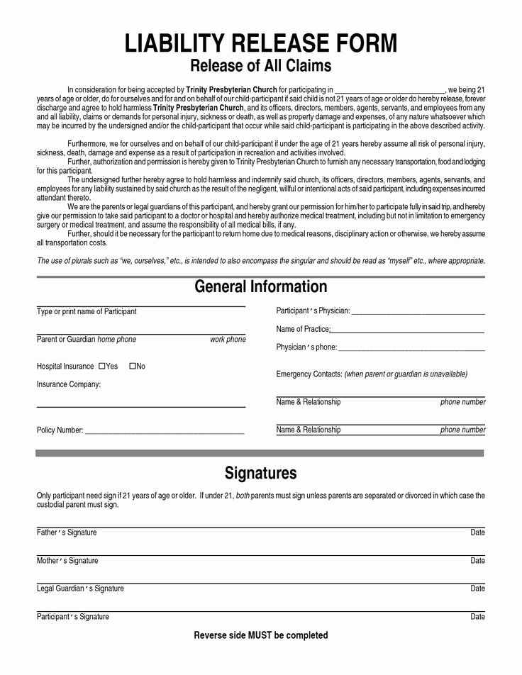 Liability Release form Template Awesome General Liability Waiver form