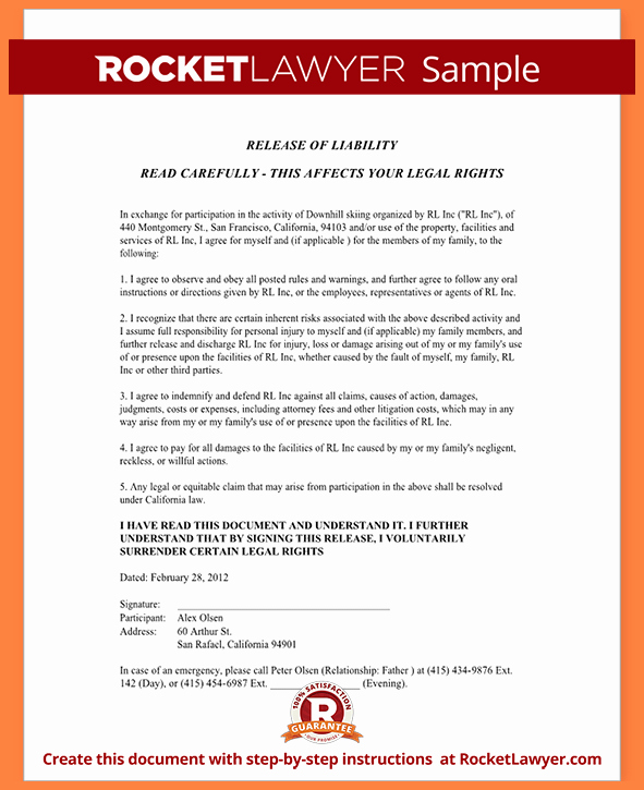 Liability Release form Template Elegant 6 Release Of Liability Agreement Template