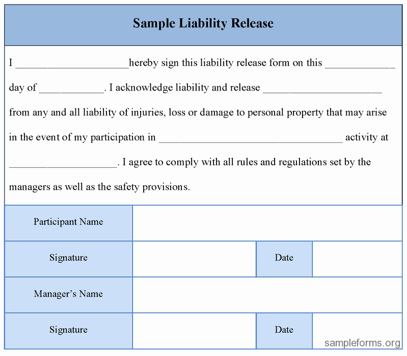 Liability Release form Template Elegant Free Printable Liability Release form Sample form Generic