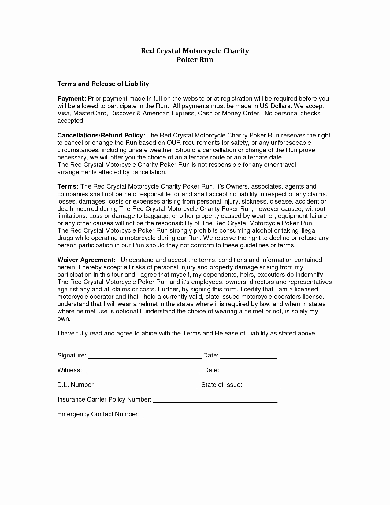 Liability Release form Template Elegant Liability Release form Template Free Printable Documents