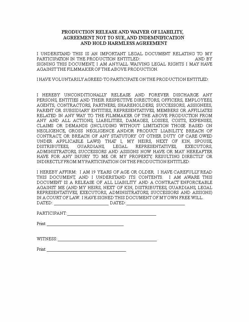Liability Release form Template Elegant Release Of Liability Waiver form