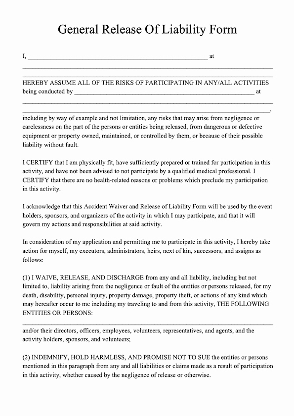 Liability Release form Template Fresh Free Release Of Liability form Template