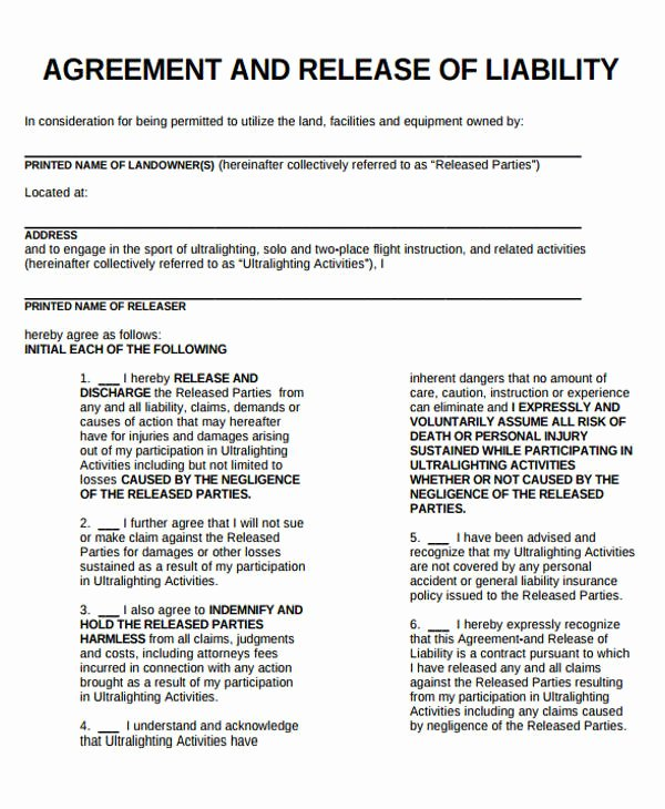 Liability Release form Template Luxury Sample General Liability Release form 7 Examples In