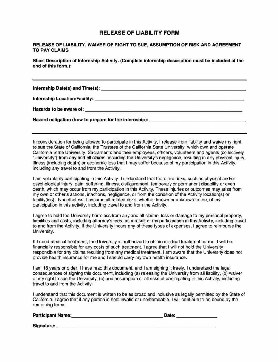 Liability Release form Template New General Liability Release form Template Sampletemplatess