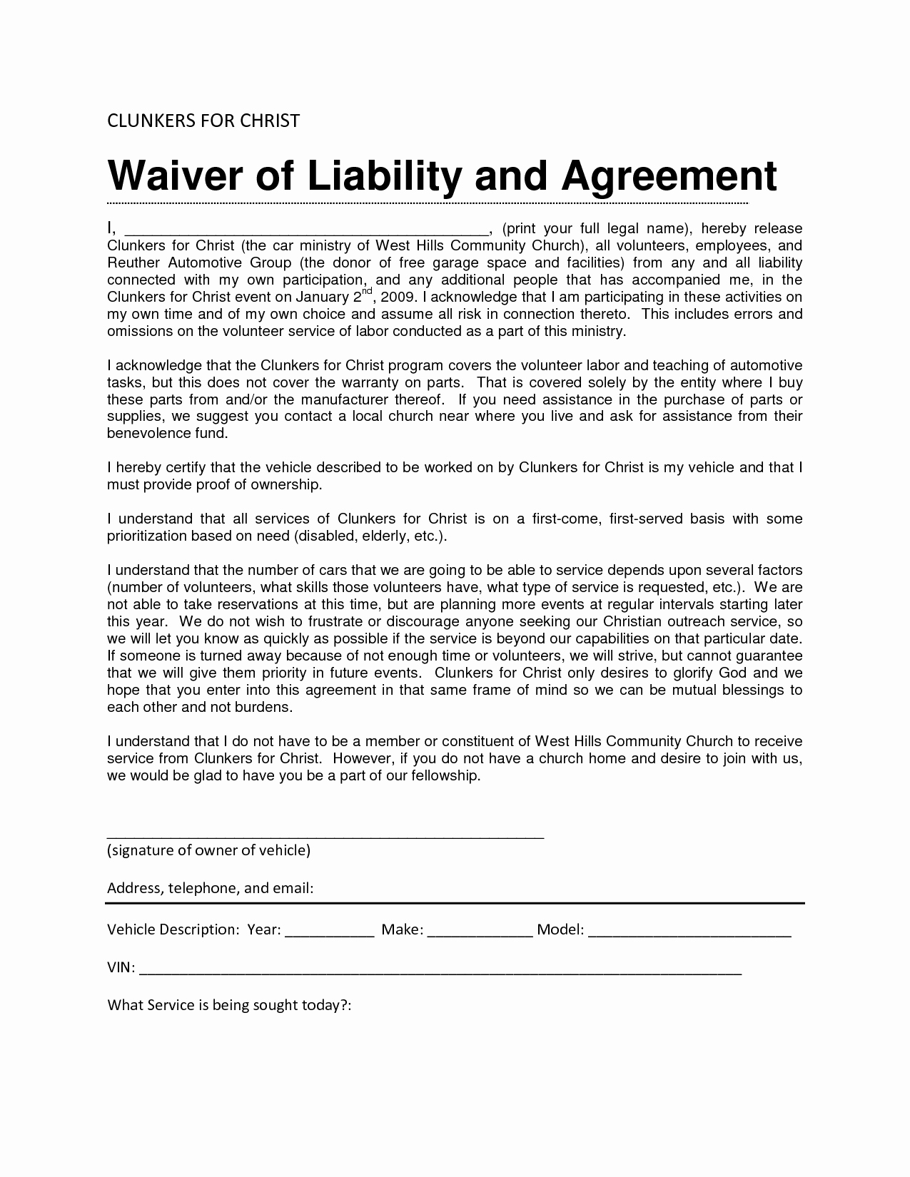 Liability Release form Template Unique Liability Release form Template