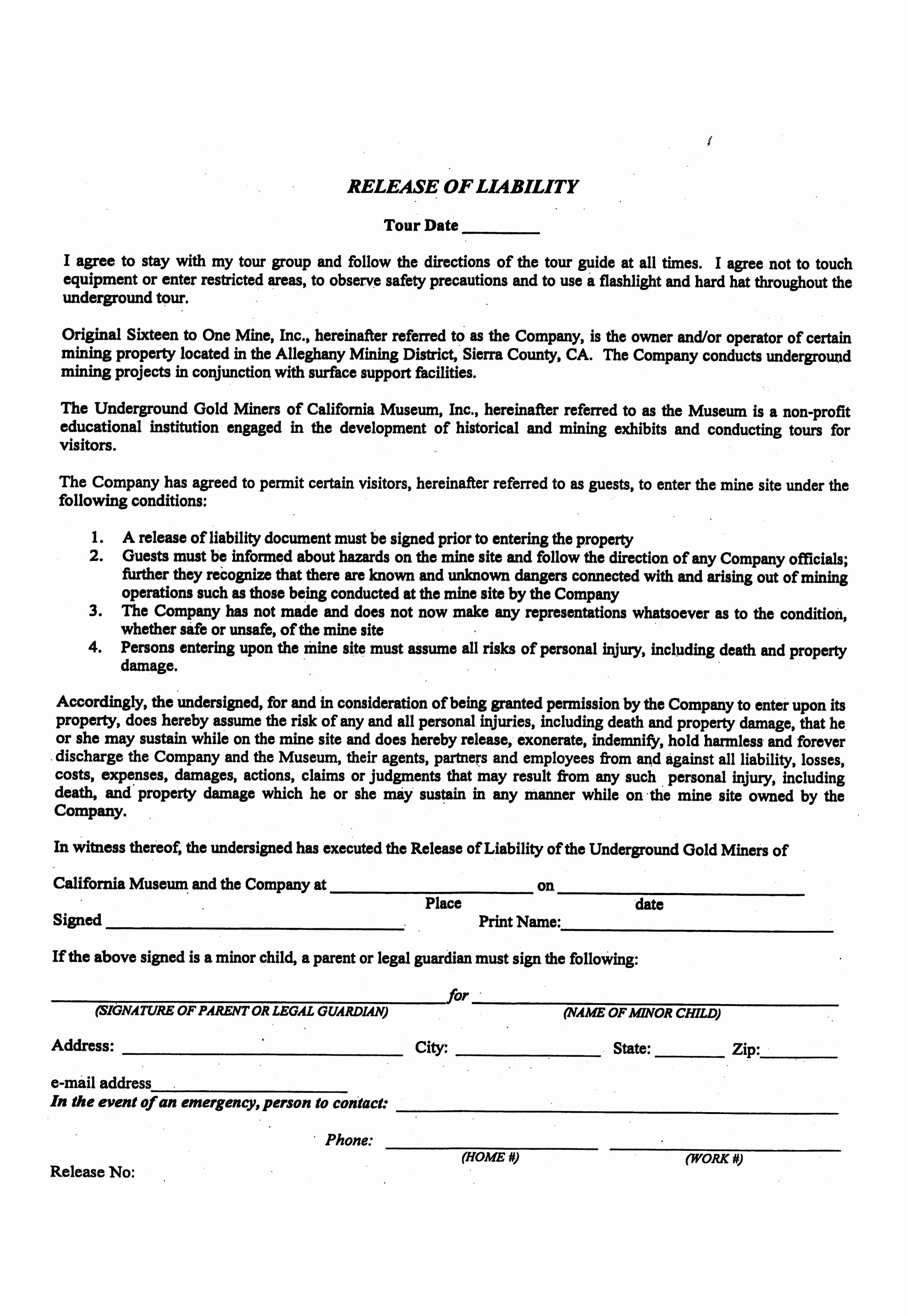 Liability Release form Template Unique Printable Sample Liability form form