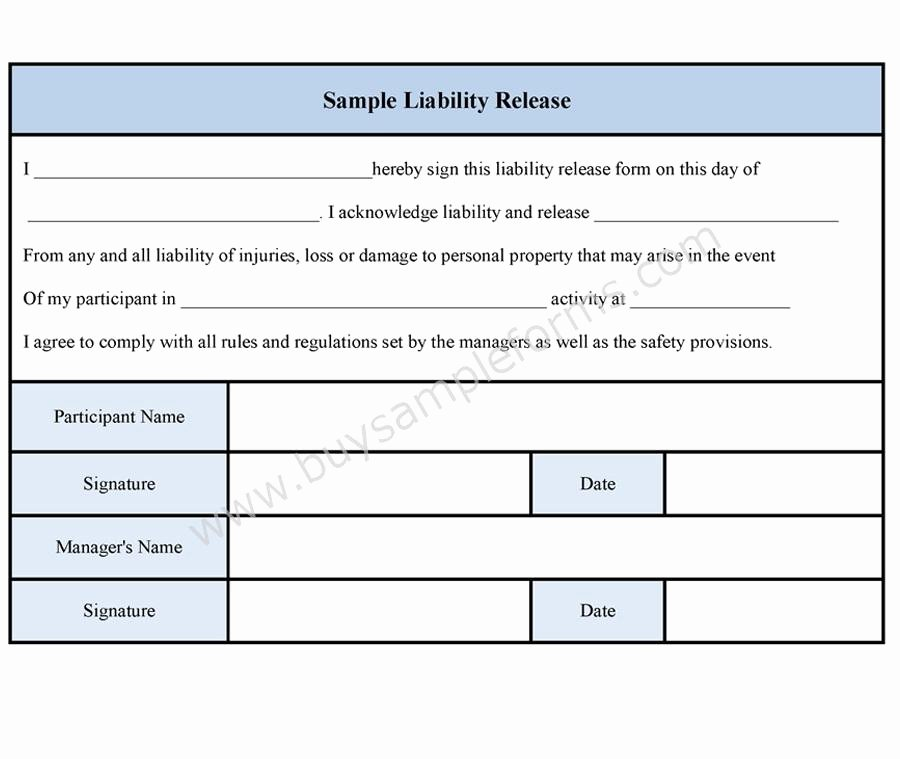 Liability Release form Template Unique Sample Liability Release form Sample forms