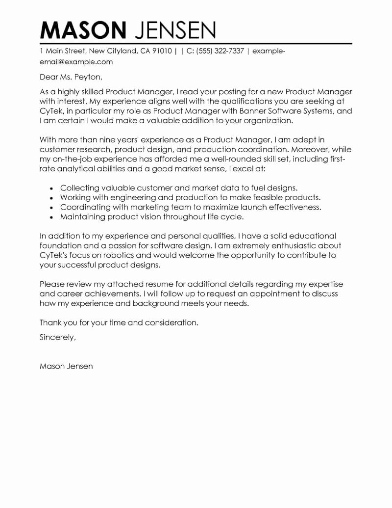 Marketing Cover Letter Sample Awesome Best Product Manager Cover Letter Examples