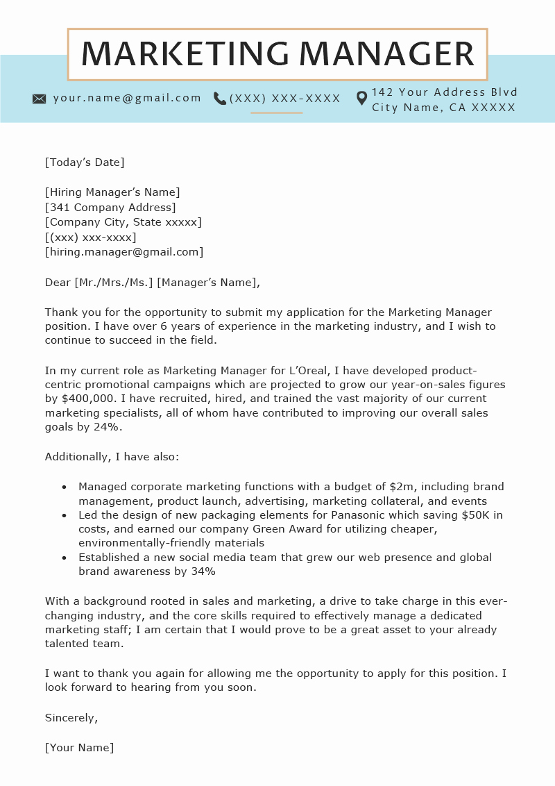 Marketing Cover Letter Sample Elegant Marketing Manager Cover Letter Sample