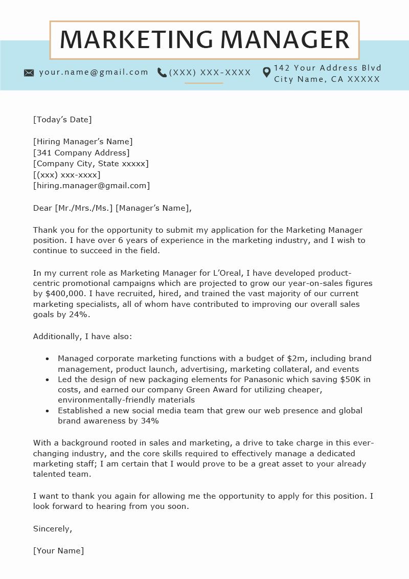 Marketing Cover Letter Sample Elegant Marketing Manager Cover Letter Sample