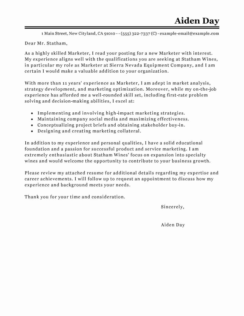 Marketing Cover Letter Sample Fresh Best Marketing Cover Letter Examples
