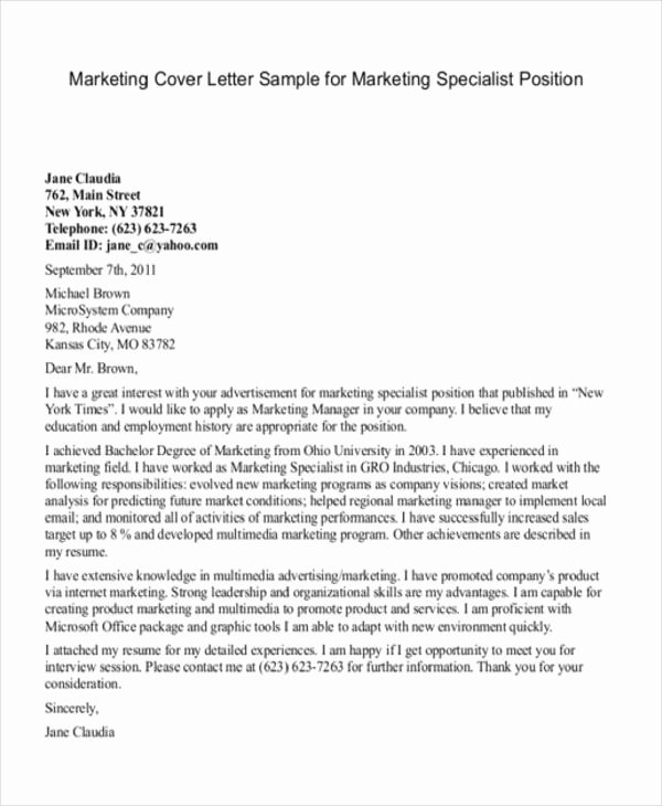Marketing Cover Letter Sample Inspirational 11 Marketing Cover Letter Templates Free Sample