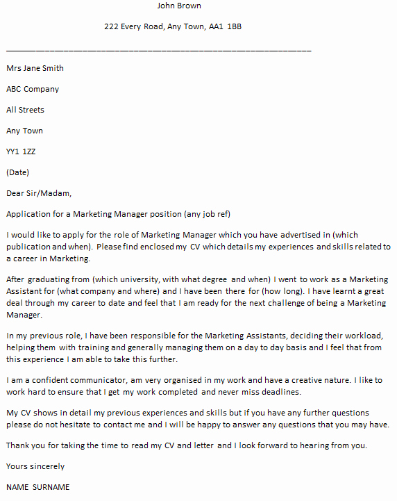 Marketing Cover Letter Sample Lovely Marketing Manager Cover Letter Example Icover