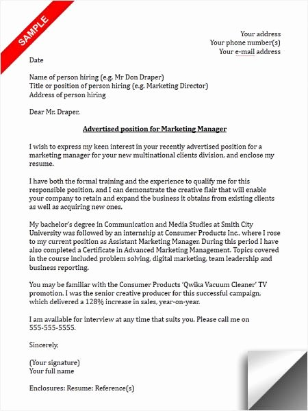 Marketing Cover Letter Sample New 117 Best Images About Cover Letter Sample On Pinterest
