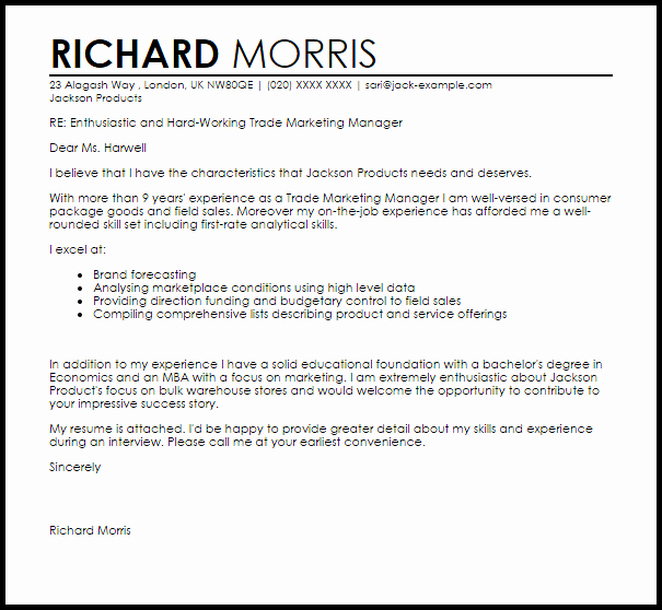 Marketing Cover Letter Sample New Trade Marketing Manager Cover Letter Sample