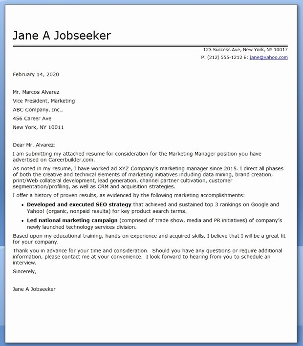 Marketing Cover Letter Sample Unique Cover Letter Nature Munications