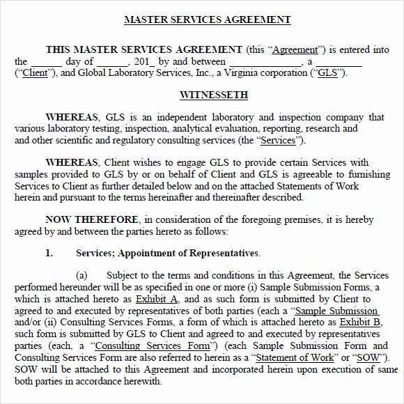 Master Service Agreement Template Beautiful Sample Master Service Agreement 8 Documents In Pdf Word