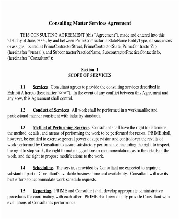 Master Service Agreement Template Best Of 41 Consulting Agreement Examples Word Pdf