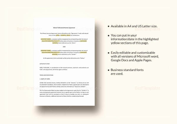 Master Service Agreement Template Best Of Free 17 Sample Service Level Agreement Templates In Pdf