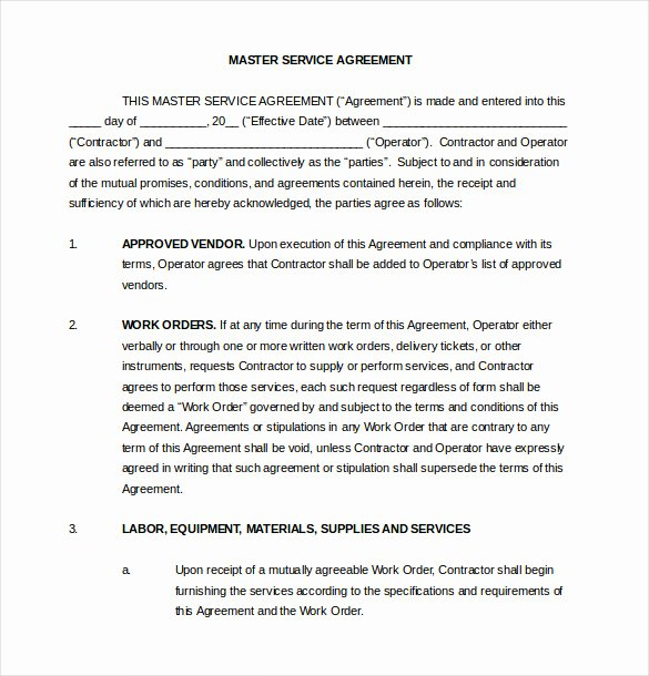 Master Service Agreement Template Best Of Vendor Agreement Template – 28 Free Word Pdf Documents