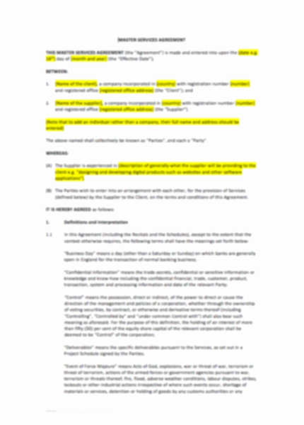 Master Service Agreement Template Elegant Master Services Agreement Template – Uk Template
