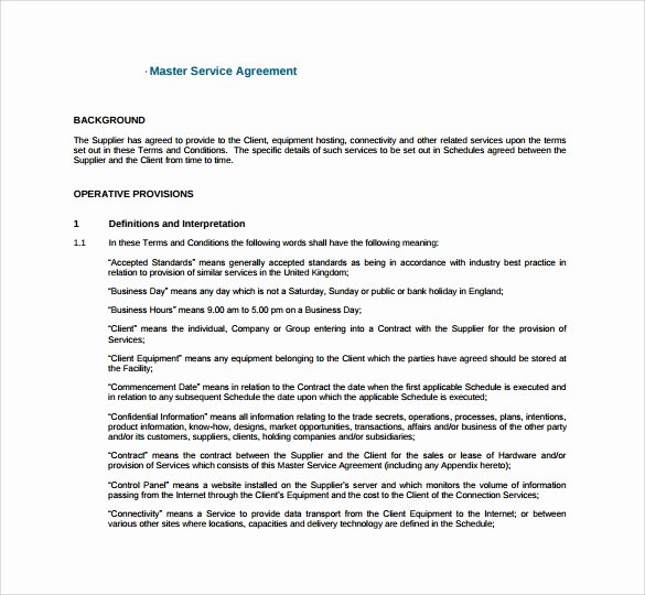 Master Service Agreement Template Lovely Sample Master Service Agreement 8 Documents In Pdf Word
