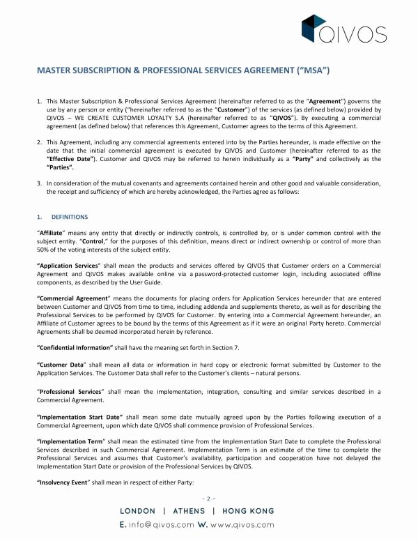 Master Service Agreement Template Luxury Free 10 Master Professional Services Agreement