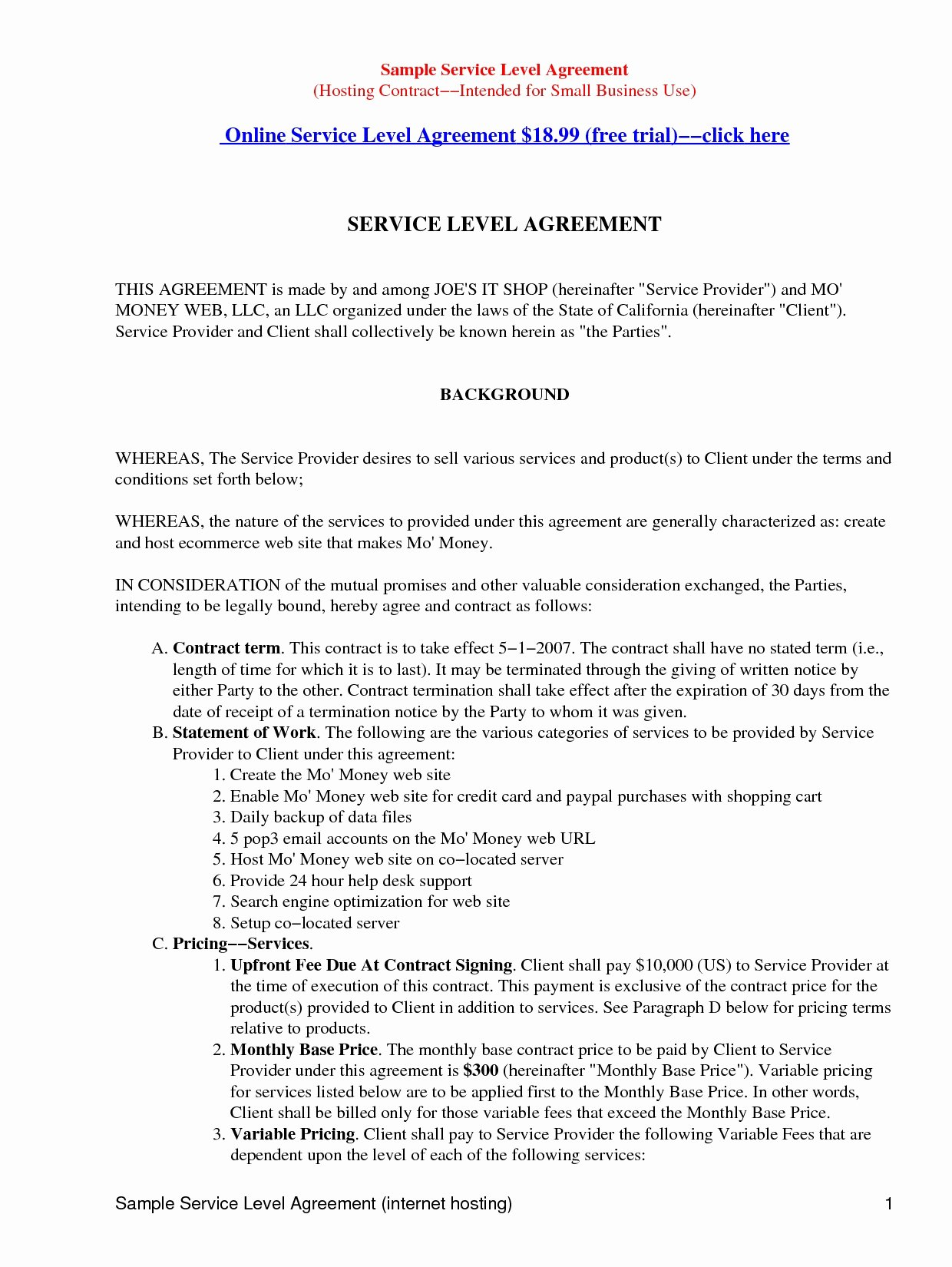 Master Service Agreement Template New 41 Advanced Master Service Level Agreement Oo W