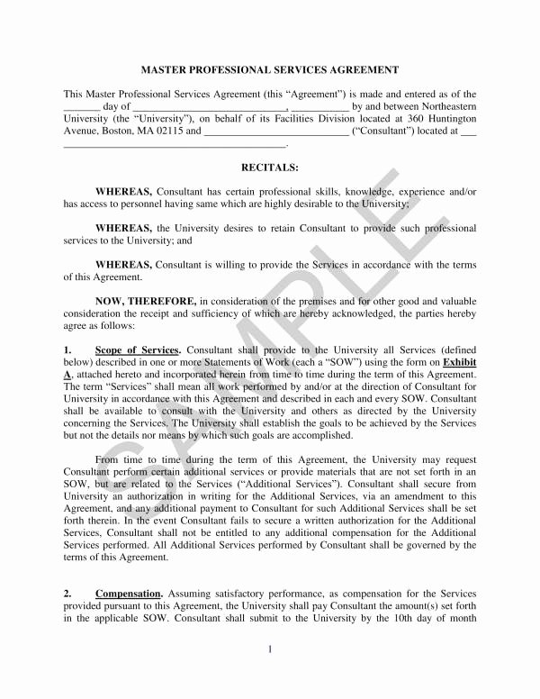 Master Service Agreement Template New Free 10 Master Professional Services Agreement
