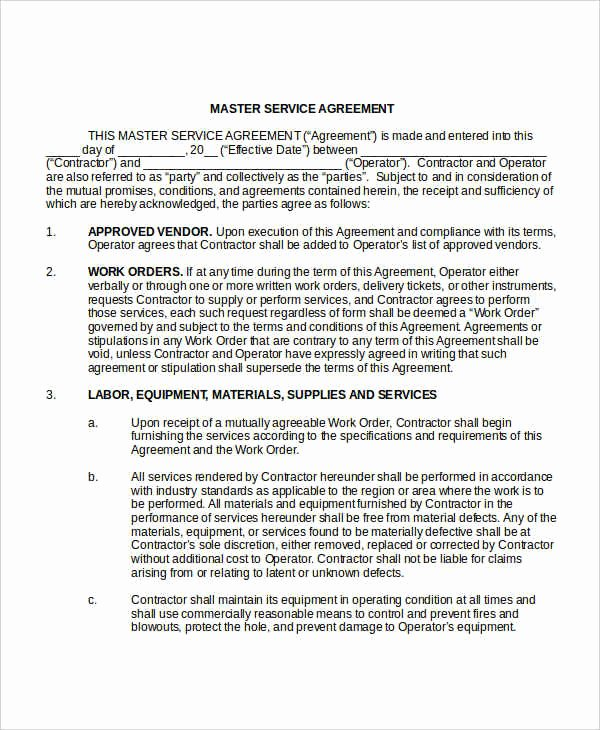 Master Service Agreement Template Unique Service Agreement Template 28 Free Word Pdf Documents