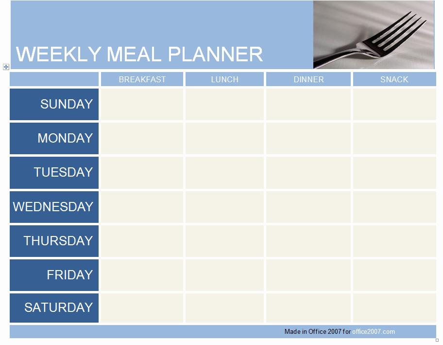 Meal Plan Template Word Elegant Weekly Meal Planner Template
