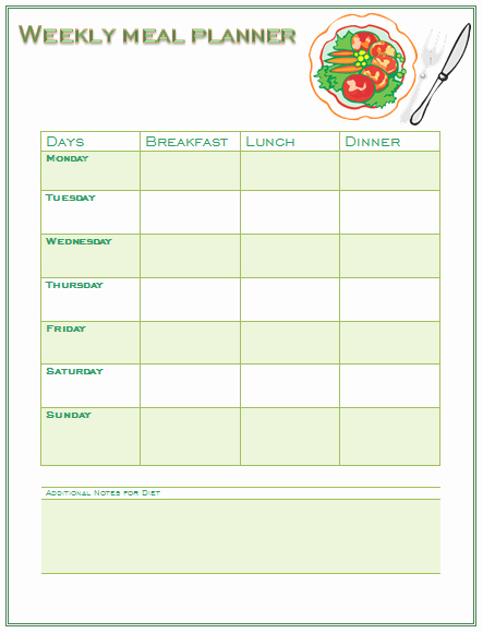 Meal Plan Template Word Lovely Perfect Meal Planning Template for You and Your Family