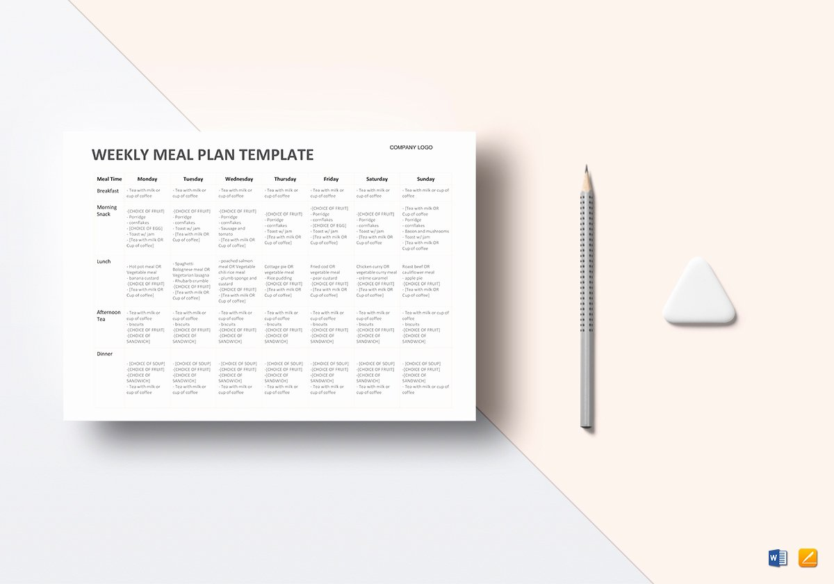 Meal Plan Template Word New Meal Plan Template In Word Google Docs Apple Pages