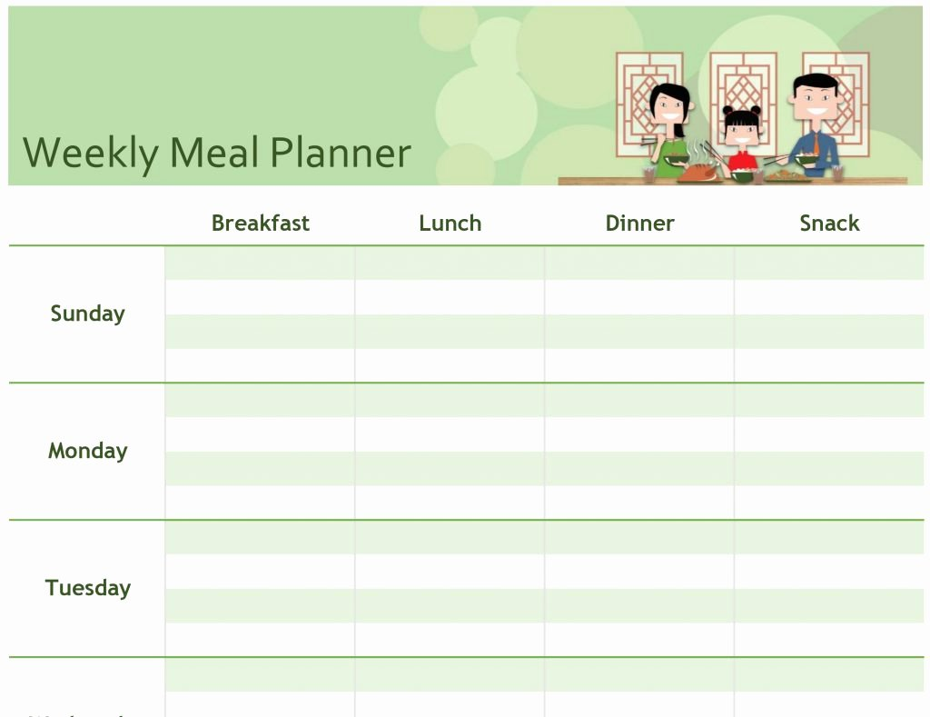 Meal Plan Template Word Unique Free Printable Menu Planner Template Monthly Meal Weekly