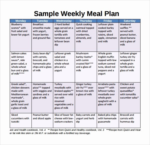 Meal Plan Template Word Unique Sample Weekly Meal Plan Template 9 Free Documents In