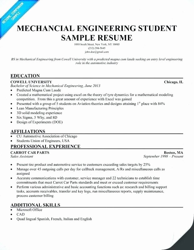 Mechanical Engineer Resume Sample Awesome Mechanical Engineer Resume Examples – Emelcotest