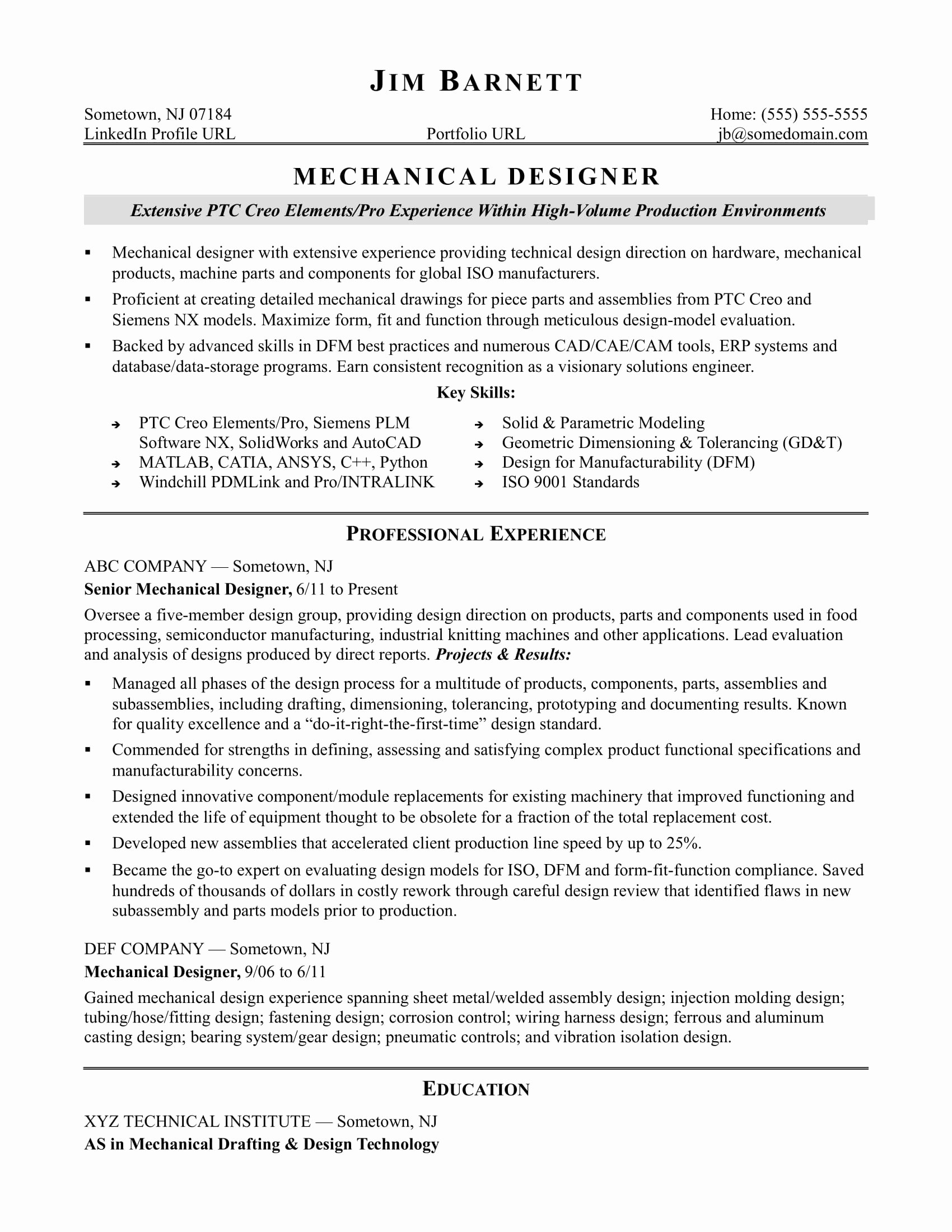 Mechanical Engineer Resume Sample Beautiful Sample Resume for An Experienced Mechanical Designer