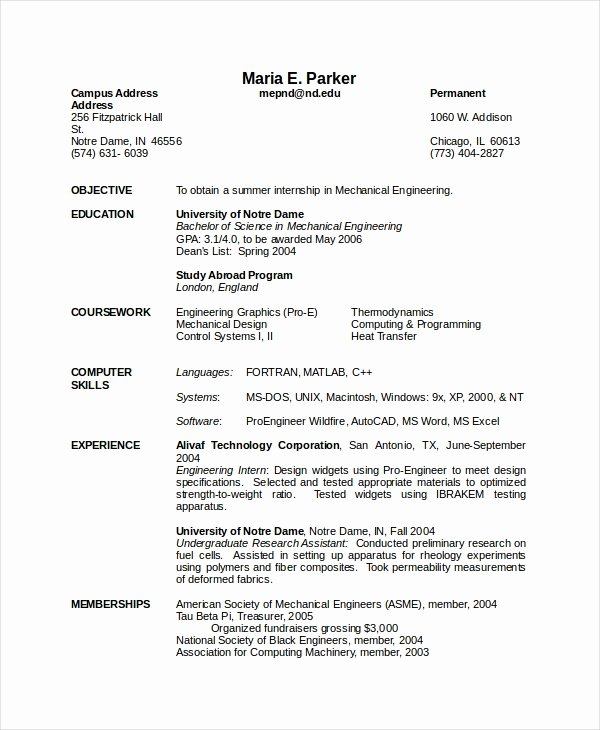 Mechanical Engineer Resume Sample Best Of 10 Engineering Resume Template Free Word Pdf Document