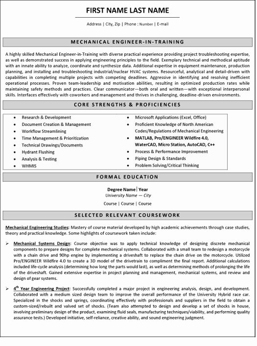 Mechanical Engineer Resume Sample Best Of Mechanical Engineer Resume Sample & Template