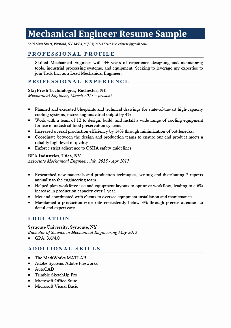 Mechanical Engineer Resume Sample Best Of Mechanical Engineer Resume Sample & Writing Tips