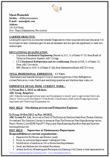 Mechanical Engineer Resume Sample Elegant Over Cv and Resume Samples with Free Download