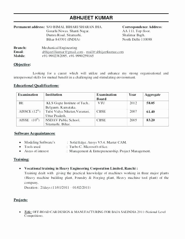 Mechanical Engineer Resume Sample Fresh Mechanical Engineer Resume Examples – Emelcotest