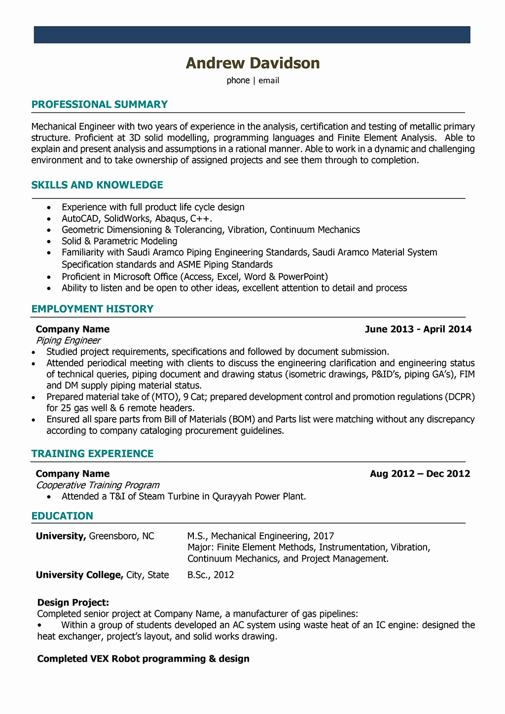 Mechanical Engineer Resume Sample Fresh Mechanical Engineer Resume Samples and Writing Guide