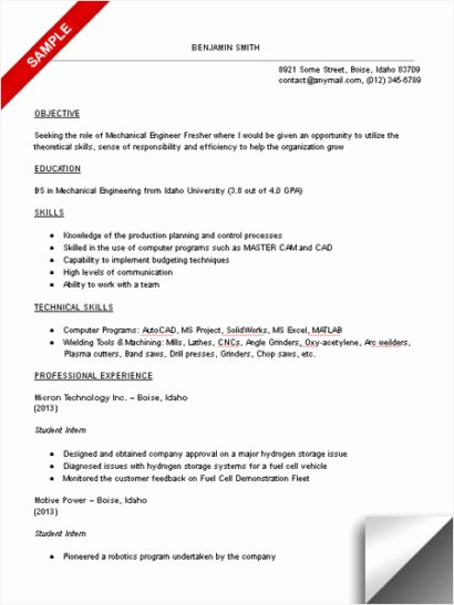 Mechanical Engineer Resume Sample Fresh Mechanical Engineering Student Resume Sample Limeresumes