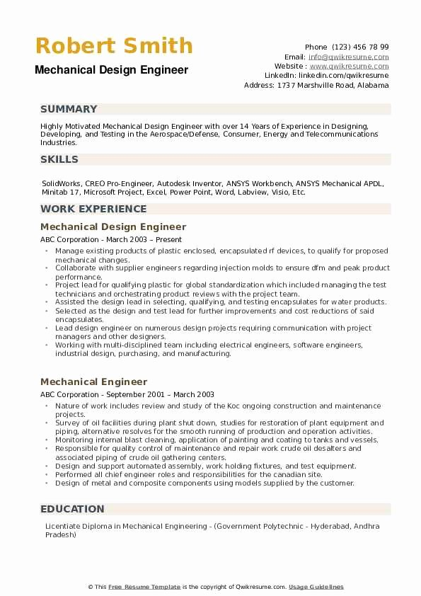 Mechanical Engineer Resume Sample Inspirational Mechanical Design Engineer Resume Samples